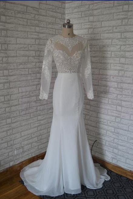O neck long sleeves mermaid wedding gowns,ivory chiffon and tulle embroidery evening gowns,open back sexy formal dress prom