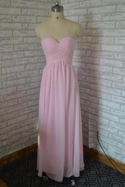 Discount sweetheart long chiffon bridesmaid dress,pink long evening dress,lace up back dress for bridesmaids,cheaper dress for wedding party