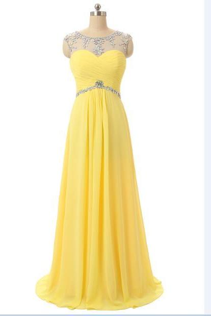 Sleeveless yellow color floor length long evening formal dress,beaded party dress,prom gown sexy open back