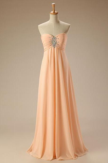 Elegant long formal chiffon dress,sweetheart a line floor length beaded sexy dresses for cheap,elegant evening gowns