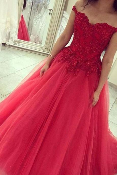 Sexy off shoulder red prom dress,tulle long evening dress,appliqued and beaded formal party dress,red wedding gowns