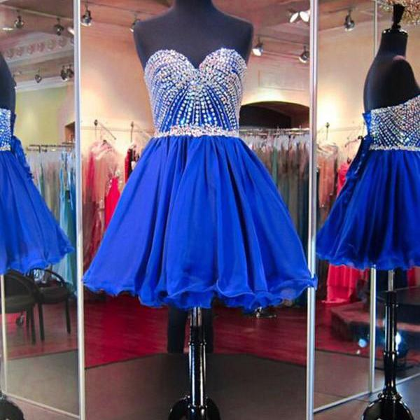 Sweetheart Royal blue Homecomng Dress, Tulle Beaded Homecoming Dress, A-line Strapless Homecoming Dress, Short Cheap Cocktail Party Dress