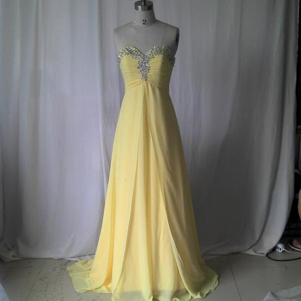 Sweetheart Lemon Prom Dress ,Long Prom Dress,Chiffon Prom Dress,Elegant Prom Dress,Fashion Prom Dress,yellow Prom dress,Long Chiffon Dress.