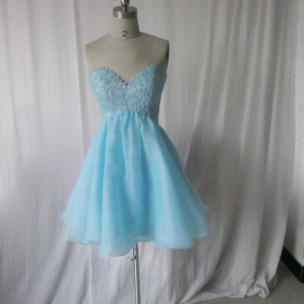 Sweetheart Short Baby Blue Prom Dress Lovely prom dress,short prom dress,light blue prom dress,organza prom dress,prom dress with beaded