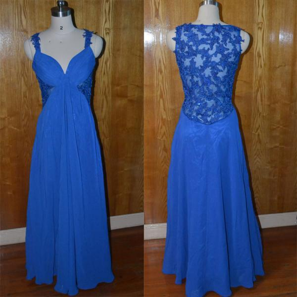 royal blue lace sheer back long chiffon prom dress.simle elegant formal evening party dress,bridesmaid dress