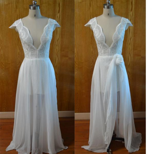 New arrival white chiffon prom dress,fashion beaded prom gown,floor length prom dresses,A line dress prom,discount cheap prom dress