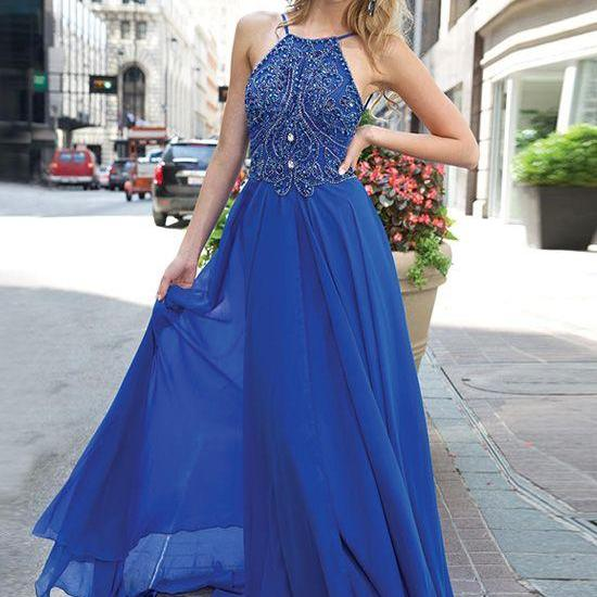 Royal blue beaded sleeveless prom dress long chiffon dress elegant popular graduation dress formal dress,bridesmaid dress,homecoming dress