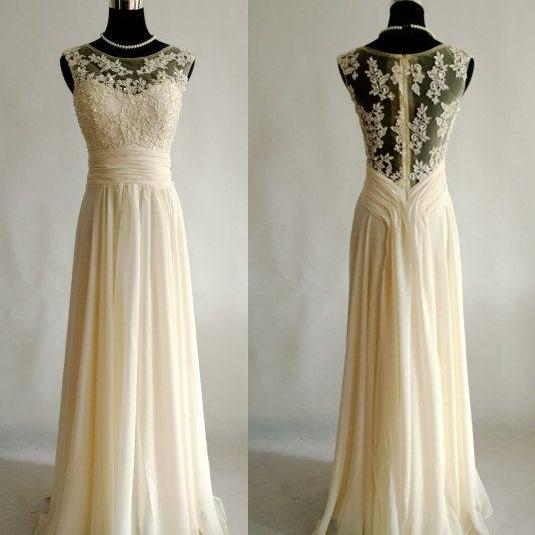 Champagne chiffon prom dress with appliqued,beaded long evening dress,prom gown, sleeveless wedding party dress,A line floor length graduation dress,fashion homecoming dresses