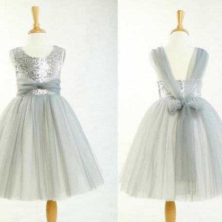 d9cc22bd47 ... Sequins and tulle sleeveless A line ankle length flower girl dress